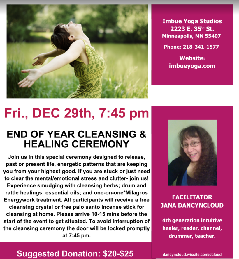 End of Year Chakra Cleanse and Healing Ceremony Friday December 29th 7:45pm